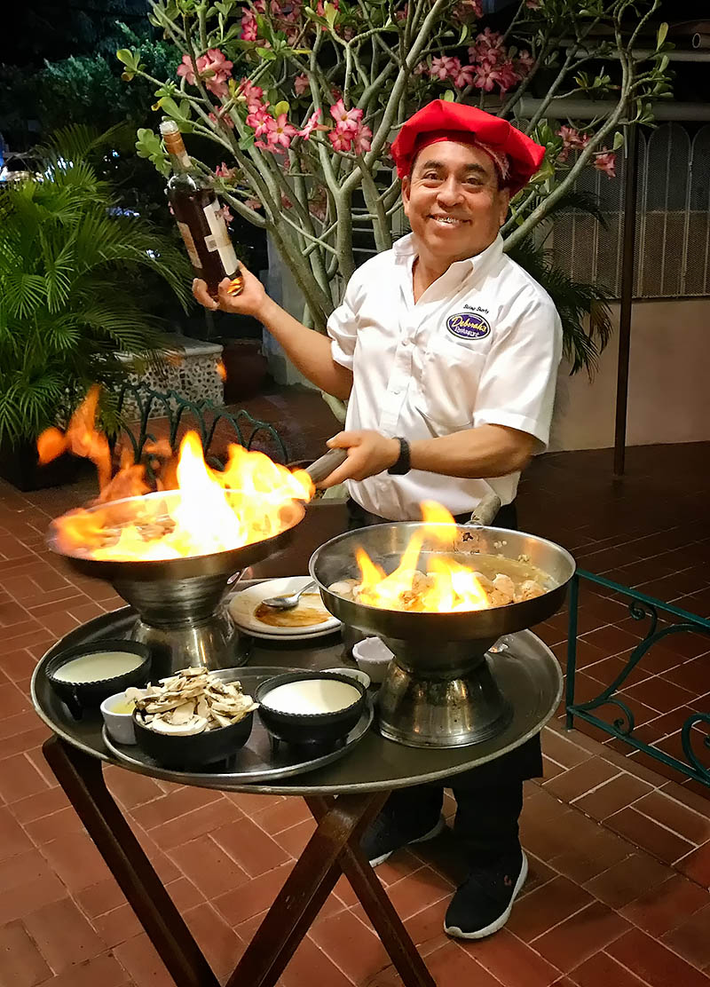 Exotic tableside flambéed dishes